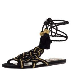 Roberto Cavalli Black/Gold Woven Twisted Thread Gladiator Ankle Wrap Flat Sandals Size 38.5
