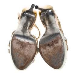 Roberto Cavalli Metallic Tricolor Leather T Strap Platform Sandals Size 38