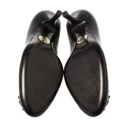 Roberto Cavalli Black Leather Logo Round Toe Pumps Size 37.5