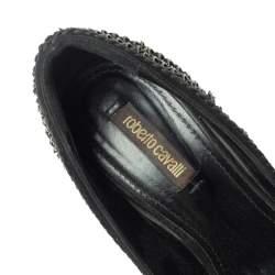 Roberto Cavalli  Black Suede Chain Detail Metal Cap Toe Pumps Size 37