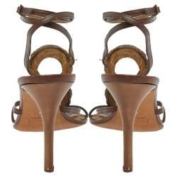 Roberto Cavalli Brown Leather Snake Embellishment Sandals Size 40