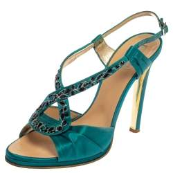 Roberto Cavalli Blue Satin Embellished Slingback Sandals Size 39