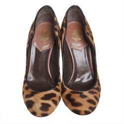 Roberto Cavalli Brown Leopard Print Calf Hair Pumps Size 36.5