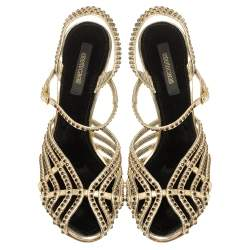 Roberto Cavalli Metallic Gold Leather Studded Strappy Sandals Size 39.5