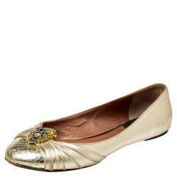 Roberto Cavalli Metallic Gold Leather Snake Head Crystal Embellished Ballet Flats Size 39.5