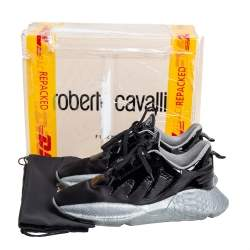 Roberto Cavalli Black Satin And Patent Leather Lace Up Sneakers Size 39