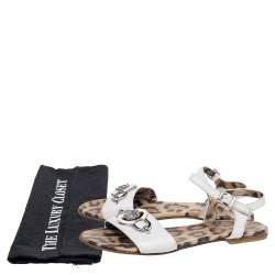 Roberto Cavalli White Leather Embellished Flat Sandals Size 37