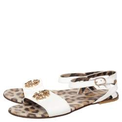 Roberto Cavalli White Patent Leather Embellished Flat Sandals Size 36