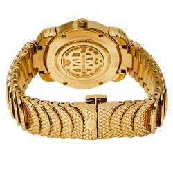 Roberto Cavalli By Frank Muller Green Gold Plated Stainless Steel Diamond Women's Wristwatch 34 mm