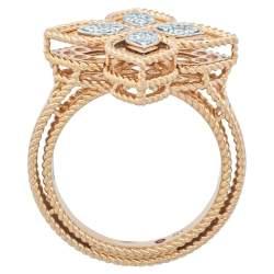 Roberto Coin Princess Flower Diamond 18K Rose Gold Ring Size 54