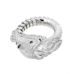 Roberto Coin Diamond Pave 18K White Gold Horse Ring Size 54