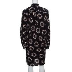 Rochas Black Ballerina Printed Silk Long Sleeve Shirt Dress L