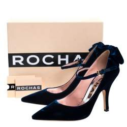 Rochas Blue Velvet Bow Ankle Strap Pointed Toe Pumps Size 40