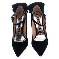 Rochas Navy Blue Velvet Bow Ankle Strap Pointed Toe Pumps Size 36