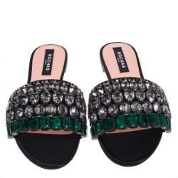 Rochas Black Satin Jewel Embellished Flat Slide Sandals Size 39