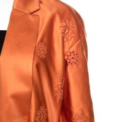 Rochas Orange San Gallo Eyelet Embroidered Duchesse Satin Belted Overcoat L