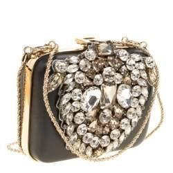 Rochas Black Leather Crystal Embellished Clutch