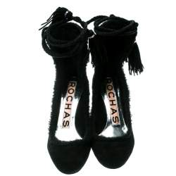 Rochas Black Suede/Fur Tassel Tie Up Pumps Size 36