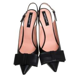 Rochas Black Leather Bow Slingback Sandals Size 40