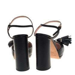 Rochas Black Leather Tassel Detail Block Heel Ankle Strap Platform Sandals Size 38.5