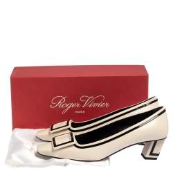 Roger Vivier Black/White Leather and Patent Leather Belle Vivier Pumps Size 39
