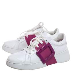 Roger Vivier White/Pink Leather And Rubber  Viv Skate Sneakers Size 37