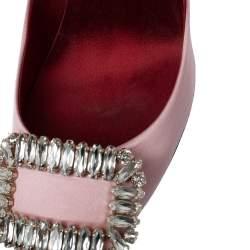 Roger Vivier Pink Embellished Satin Limelight Buckle Pumps Size 39