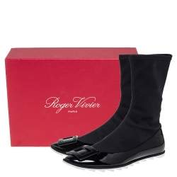 Roger Vivier Black Patent Leather And Stretch Fabric Gommette Ankle Boots Size 39