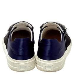 Roger Vivier Navy Blue/Black Satin Sneaky Viv Embellished Slip On Sneakers Size 35