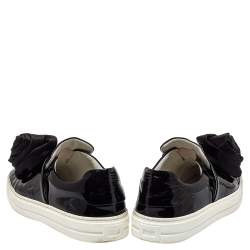 Roger Vivier Black Patent Leather And Satin Slip On Sneakers Size 38