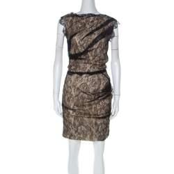 Roksanda Ilincic Black & Beige Lace & Silk Gather Detail Dress S