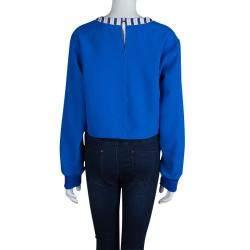 Roksanda Ilincic Blue Oversized Long Sleeve Crop Top M