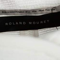 Roland Mouret White Cotton Blend Textured Bellasis  Jacket M