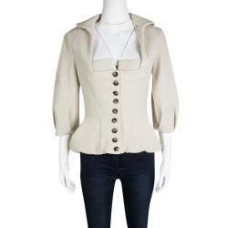 Roland Mouret Beige Wool Square Neck Detail Jacket L