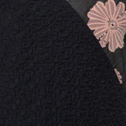 Roland Mouret Black Cotton Daisy Appliqued Off Shoulder Camley Dress M
