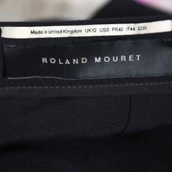 Roland Mouret Black Velvet & Crepe Paneled Pencil Skirt M