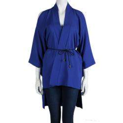Roland Mouret Blue Roche Cold Shoulder Kimono Top S