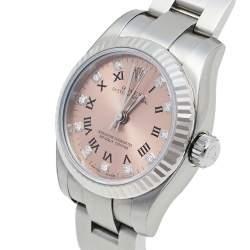 ساعة يد نسائية رولكس أويستر بربتوال 176234 ألماس ستانلس ستيل ذهب أبيض عيار 18 26 مم