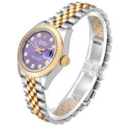 Rolex Lilac Diamonds 18K Yellow Gold And Stainless Steel Datejust 279173 Women's Wristwatch 28 MM