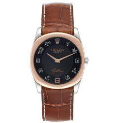 Rolex Black 18K Rose Gold And 18K White Gold Cellini Danaos 4233 Women's Wristwatch 34 MM