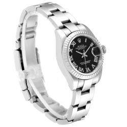 Rolex Black 18K White Gold and Stainless Steel Datejust 179174 Women's Wristwatch 26MM