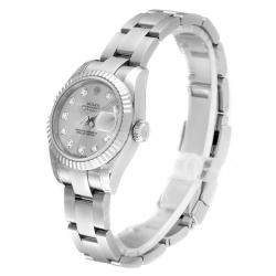 Rolex Silver 18K White Gold and Stainless Steel Diamond Datejust 179174 Women's Wristwatch 26MM