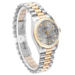 Rolex Silver 18K White Gold 18K Rose Gold 18K Yellow Gold and Diamond President Tridor 68279 Women's Wristwatch 31MM