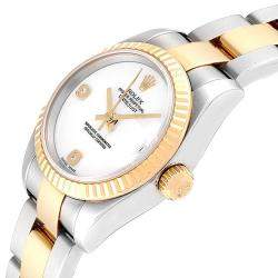 Rolex White 18K Yellow Gold Diamond and Stainless Steel Datejust 179173 Women's Wristwatch 26MM