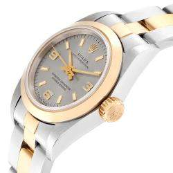 Rolex Slate 18K Yellow Gold And Stainless Steel Oyster Perpetual 67183 Women's Wristwatch 24MM