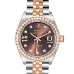 Rolex Brown Diamonds 18K Rose Gold And Stainless Steel Datejust 279381 Women's Wristwatch 28 MM
