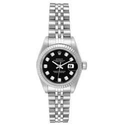 Rolex Black Diamonds 18k White Gold And Stainless Steel Datejust 79174 Women's Wristwatch 26 MM