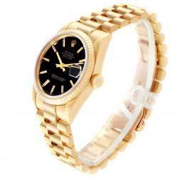 Rolex Black 18K Yellow Gold Datejust President 68278 Women's Wristwatch 31 MM