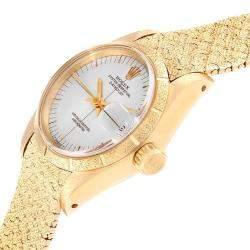Rolex Silver 18K Yellow Gold President Datejust 6900 Women's Wristwatch 26 MM