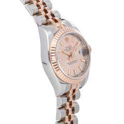 Rolex Salmon 18K Rose Gold And Stainless Steel Datejust 179171 Women's Wristwatch 26 MM